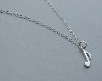 Music note sterling silver necklace, music note necklace, music necklace, song necklace