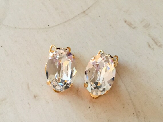 Oval Swarovski Crystal Clip On Earrings, Yellow Gold