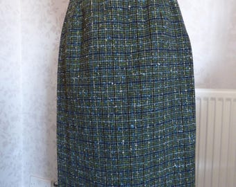 Vintage 1950s wool tweed pencil skirt Charles Anthony custom made California green, grey size S