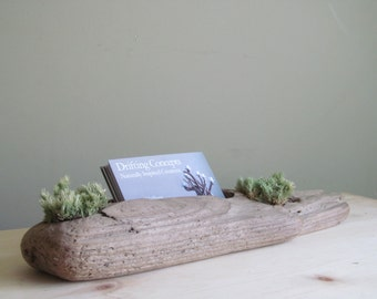Driftwood Business Card Holder with Two Moss Detail, Business Card Display, Driftwood Business Card Display, Wood Business Card, Card Holder