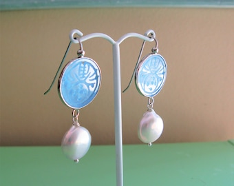 Carved Jade Earrings, Light Blue Jade Earrings, Jade & Pearl Earrings, Asian Style Earrings, Asian Inspired Earrings, Pearl Earrings, Blue