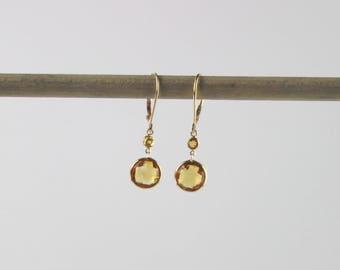 Round Citrine Dangle Earrings Set In 14K Gold