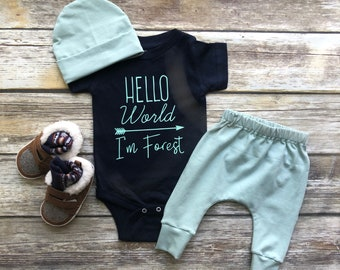 Baby Boy Coming Home Outfit Newborn Boy Coming Home Outfit Baby Boy Clothes HELLO WORLD Personalized Newborn Outfit Baby Boy Outfits