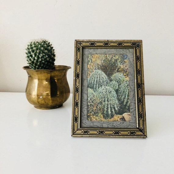 """Vintage Gold Metal Frame 5""""x7"""" Black and Gold Frame with Cactus Postcard Tabletop Frame"""