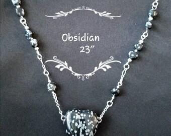 Heart Pendant Necklace (Obsidian)