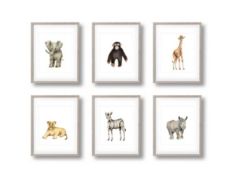 Safari Nursery Art Prints, Set of 6, Baby Animal Prints, Elephant, Giraffe, Zebra, Lion, Rhino, Monkey, Jungle, Gender Neutral Baby