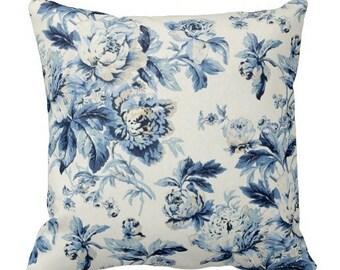 blue pillows, floral pillows, couch pillows, decorative pillows, pillows, floral throw pillows, waverly pillows, blue floral pillow, cushion