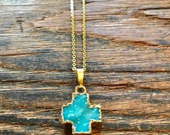 Turquoise druzy chunky cross-small