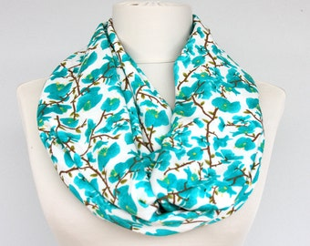 Infinity scarf floral loop scarf summer scarves spring scarf  teal blue turquoise blue mothers day gift for her womens fashion