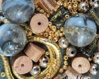 Bead Lot, Mod Gold, Vintage Bead Blend, Vintage Beads, OOAK, Bead Assortment, Acrylic, Glass, Salvaged Beads