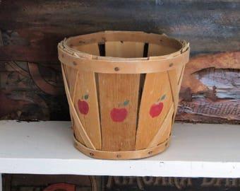 Split Wood Basket Planter with Red Apple Stencil Decoration, Vintage Apple Basket