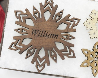 Personalized Ornament - Christmas Snowflake Gift Box Set - Custom Engraved Wood Snowflake - Walnut - Made in the U.S.A. William