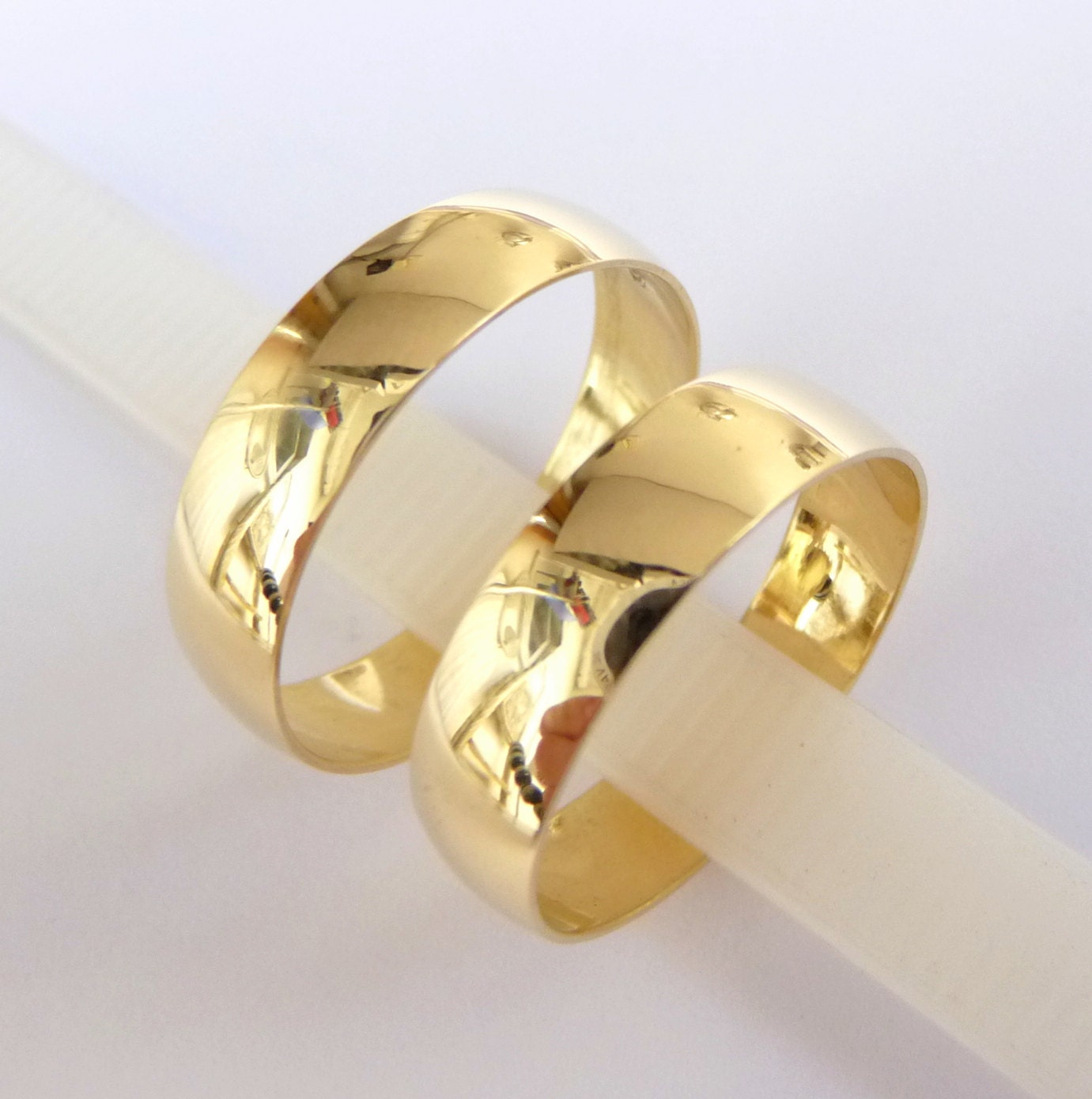 Wedding Bands set womens mens Wedding Rings gold 5mm