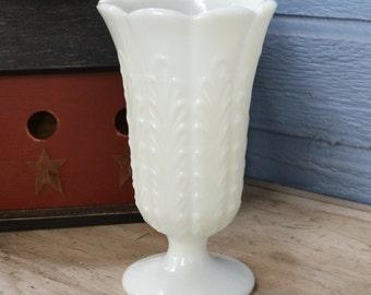 Vintage Milk Glass Vase - Vines - Vintage Wedding - Royal Hill Vintage