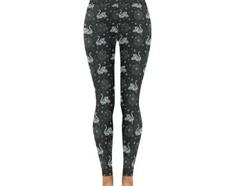 Swan yoga pants scandinavian folk art pattern black light blue bubbles swirls bird print leggings all sizes alternative