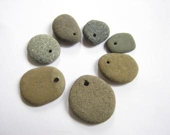 Drilled Beach Rocks, Eco Friendly Natural Stone Beads, Medium to Small Ocean Stones Top Drilled Pendant