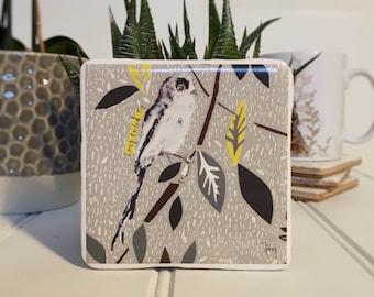 Coaster, Long Tailed-Tit Coaster, Animal Coaster, Ceramic, Tile coaster, Bird, Gift, Decor, Interior Kitchen, Animals, British Wildlife