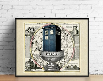 TARDIS Celestial Map Art Print, Doctor Dr Who Zodiac Constellation Terrarium Poster British England Police Booth, Wall Art Dr Who Gifts