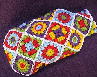 Hot Water Bottle Cover Cosy Diagonal Granny Flower Square Crochet PATTERN PDF