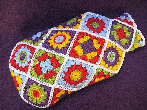 Hot Water Bottle Cover Cosy Diagonal Granny Flower Square
