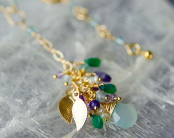 14K Gold and Gemstone Bouquet Necklace