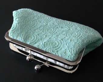 Mint Green Vintage Cotton Lace Clutch