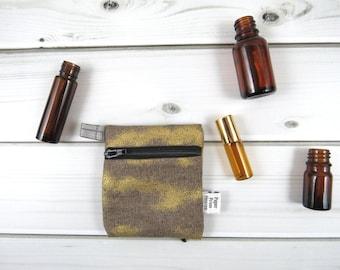 Mini Essential Oil Zippered Case - Gold Glitz - Valentine roller bottle case travel case essential oil storage IEM case earbud READY TO ship