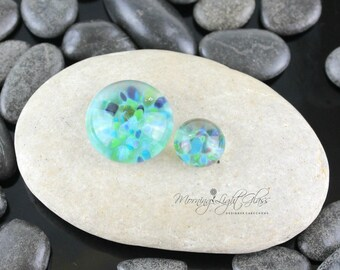 Soft Teal Duo Set - Lampwork Glass Cabochon - 16mm - Jewelry Making Supply