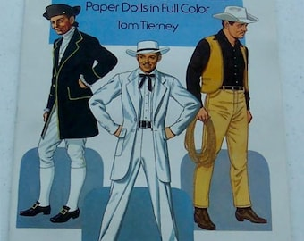 CLARK GABLE Paper Dolls Book 1986 Tom Tierney Full Color 20pg w/ Biography Hollywood Carole Lombard