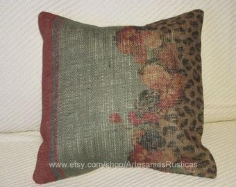Burlap Pillow 100% Burlap Floral and Leopard Print Throw Pillow Cover Euro Sham