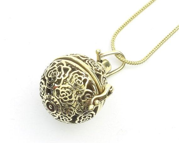 Field Of Roses Bola Necklace, Harmony Ball Pendant, Pregnancy Gift, Locket, Meditation, Festival Jewelry, Boho, Gypsy, Hippie, Spiritual