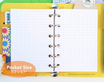 PRINTED Pocket size dotted inserts - 5mm dot planner page - Dot grid refills - Plain white paper planner inserts - K17