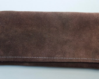 Brown Suede Clutch Wallet
