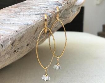Herkimer Diamond Hoop Earrings in Gold or Silver