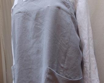 cross-back linen apron, Japanese style apron, linen smock, linen pinafore, OOAK, handmade in U.S.