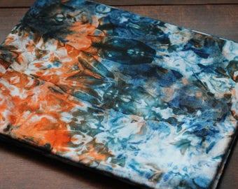 Blue & Orange Handmade Fair Trade African Tye-Dye Batik 2 yards fabri