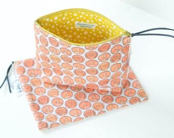 Large Wheat Back Penny Zipper Pouch   Original Fabric Design   Choose Flat or Boxy
