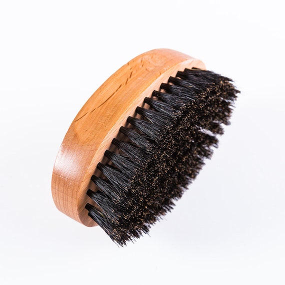 King Scorpion 360 Hard Natural Black Topped Boar Bristle Small Oval Hard 540, 720, & 360 Wave Brush Also Great on Beards - TOP QUALITY!