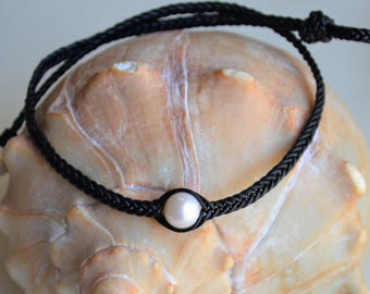 Pearl Leather Necklace/Choker Three White Pearls Three Wishes Necklace/Choker Boho Bohemian Braided Leather Holiday Gift For Her Yevga