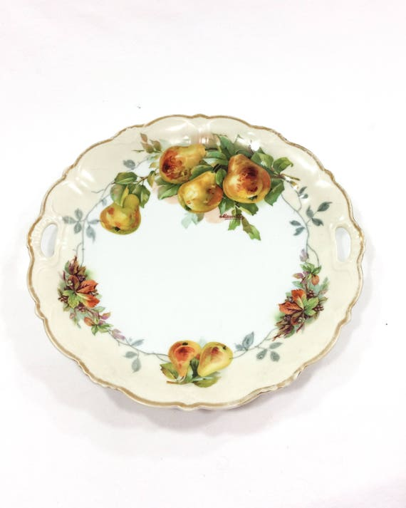 Antique Hand Painted Handled Plate, P.S. Bavaria, Fall Harvest Colors, Cream Yellow Rust Green, Pears Grapes Foliage, Signed Mauville