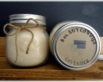 Lavender Scented 8 oz. Soy Wax Candle, Soy Candle, Mason Jar Candle, Home Decor, Bath Accessory, Container Candle