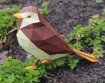 Bird papercraft - printable DIY pdf template