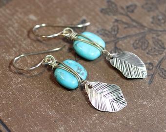 Turquoise Earrings  Brass Gold Earrings Rustic Jewelry Leaf Charm