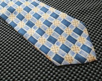 Vintage Blue and Gold Necktie Geoffrey Beene Silk