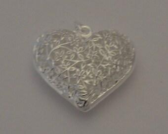 1 heart pendant filigree silver charms 36x31mm