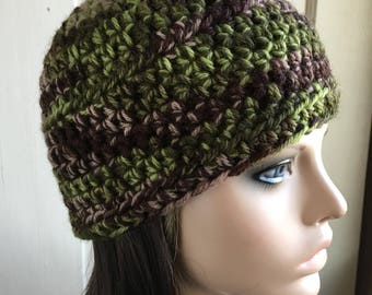 Green and Brown Camouflage Hat Wool Hat Camo Hat Beanie