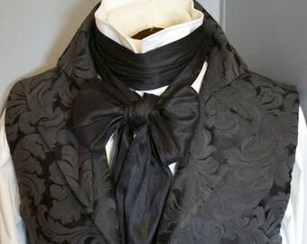 Extra LONG Black Dupioni Silk - 77 inches REGENCY Brummel Victorian Ascot Tie Cravat