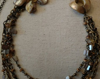 Multi Strand Beaded Necklace, Connectors, Chains, Bohemian, Newer Vintage, Romantic, Shell and Crystal Accents