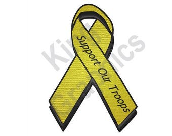 Support Our Troops - Machine Embroidery Design, Yellow Ribbon