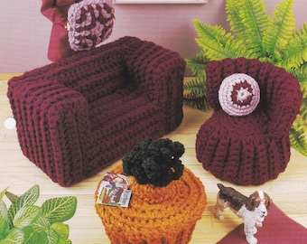 Quick & Easy Living Room, Annies Fashion Doll Furniture Crochet Pattern FCC16-01